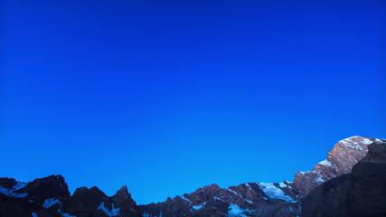Dawn after the stars. Time Lapse. Pamir, Tajikistan. 4K