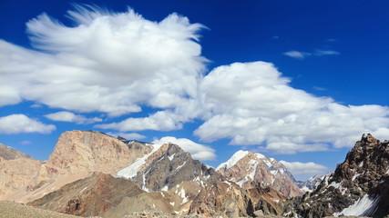 Smearing clouds in mountains. Time Lapse. Pamir, Tajikistan (4K)
