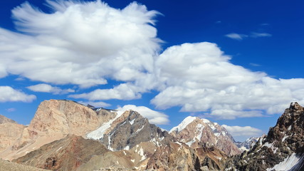 Vertices of smearing clouds TimeLapse. Pamir, Tajikistan (4K)