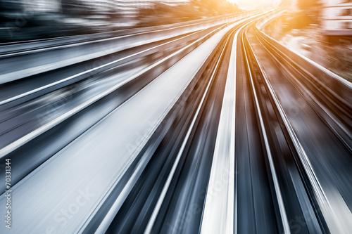 Leinwandbild Motiv City Metro Rail,motion blur
