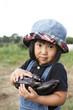 茄子を収穫する子供