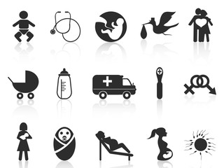 pregnancy and newborn baby icons set
