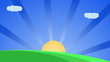 Colorful cartoon style animation with sun and clouds on blue sky