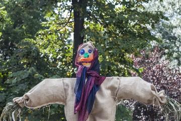 Cloth scarecrow in a rural fair