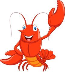 Cartoon lobster waving