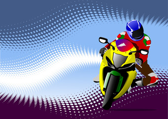 Abstract  background with motorcycle image. Vector illustration