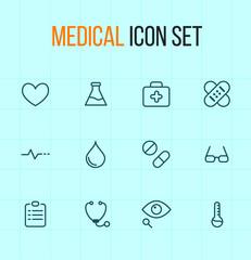 Medical outline icon set