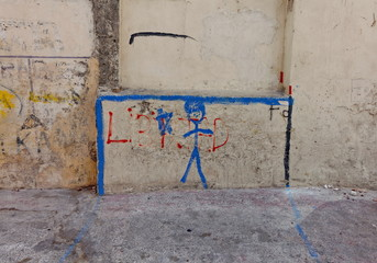 But dessiné sur un mur (football)