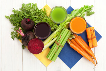 Vegetable juice with carrot beet and celery