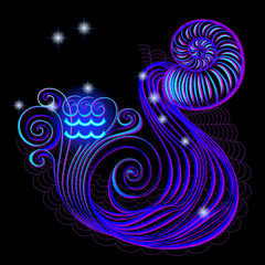 Neon signs of the Zodiac: Aquarius