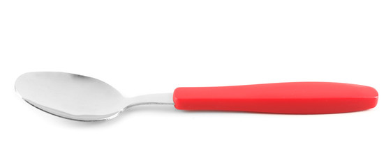 Metal spoon with red handle isolated on white