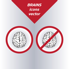 Brain icons. On the white background. Vector illustration.