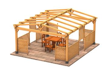 Gazebo rettangolare in legno