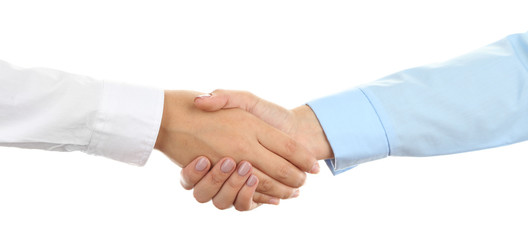 Business handshake  isolated on white