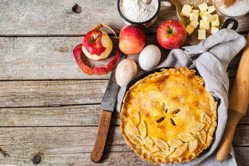 Apple pie with ingredients, space for your text
