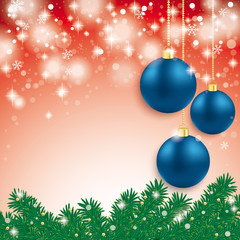 Blue Baubles Light Fir Branch Red Background