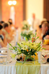 Wedding reception - selective focus on flowers