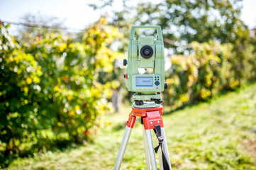 surveyor engineering equipment with theodolite and total station