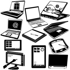 laptop and tablet black icons