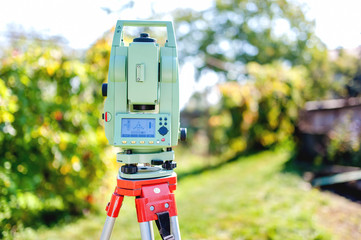 surveying equipment with transit total station and theodolite