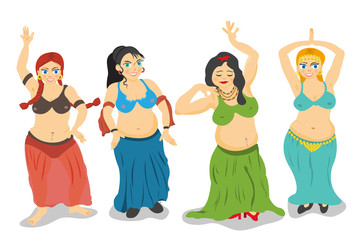 belly dancers vector