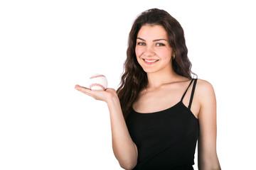woman baseball ball