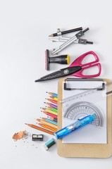 Stationary tools on clean background