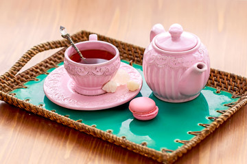 Tea with pink macaroon dates and rock sugar nabot