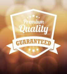 Premium label design over blurred lights background