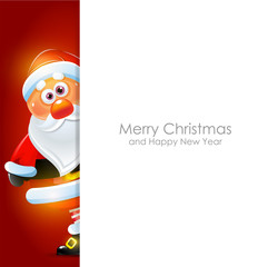 Merry X-mas and Happy New Year background with funny Santa