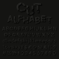 Paper alphabet with cut letters