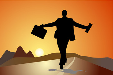 silhouette of a business man ,sunset