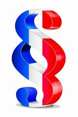 3d Paragraph Frankreich, rot-weiß-blau, freigestellt