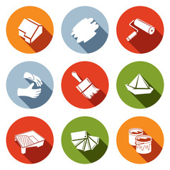 Painting work icon set