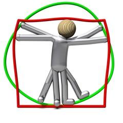 Der nicht-schlanke Vitruvianische Mensch in Rechteck und Kreis