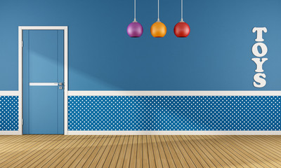 Blue playroom with closed door