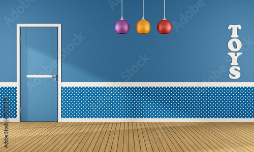 Blue playroom with closed door - 70338315