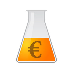 Chemical test tube with a currency icon