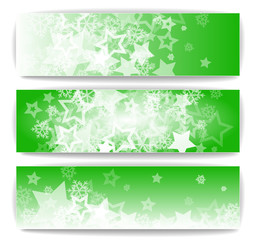 Winter banners with snowflakes and stars illustration collection