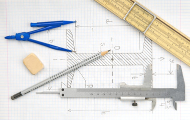 Page with technical drawing and engineering tools