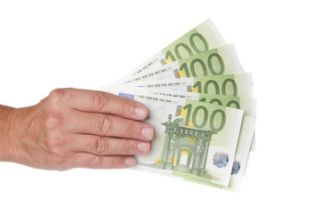 Man hand with euro banknotes isolated on white background