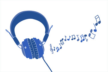 Stylish headphones with cable and notes illustration