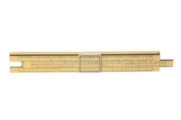 Antique slide rule on white background