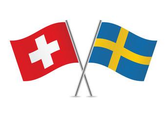 Swiss and Swedish flags. Vector illustration.