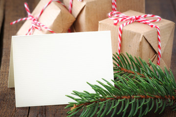 Christmas greeting card with wrapped gifts with copyspace