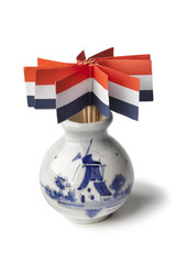 Vase with dutch flags cocktail sticks