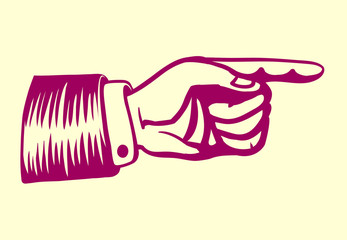 Vintage retro hand with pointing finger vector illustration