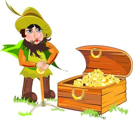 Leprechaun and a chest of gold