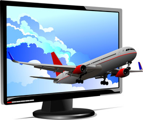 Passenger plane started from flat computer monitor. Display. Vec