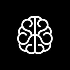 Brain Icon. Vector on Black Background